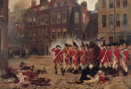 An image of The Gordon riots 1780 by John Seymour Lucas