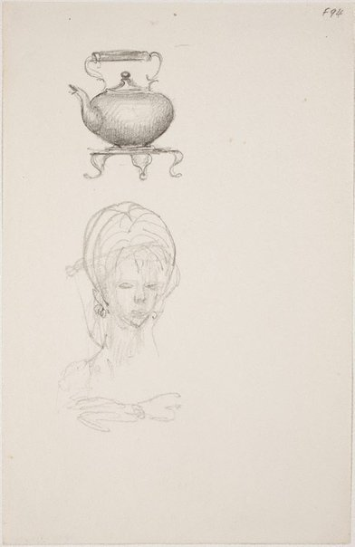 An image of (Study of teapot and woman's head) (Late Sydney Period) by William Dobell