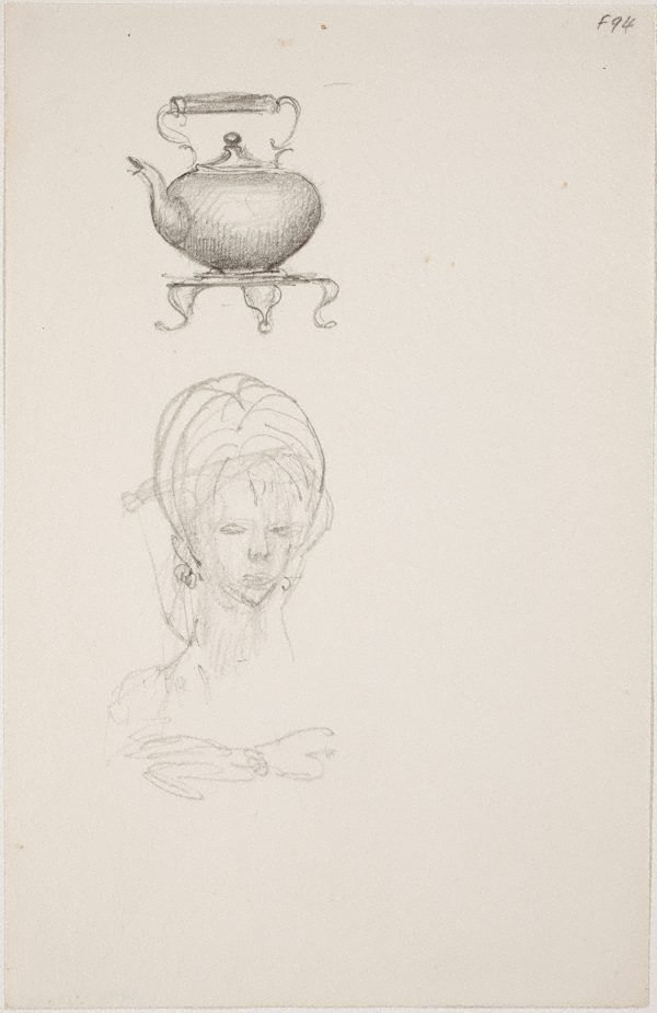 An image of (Study of teapot and woman's head) (Late Sydney Period)