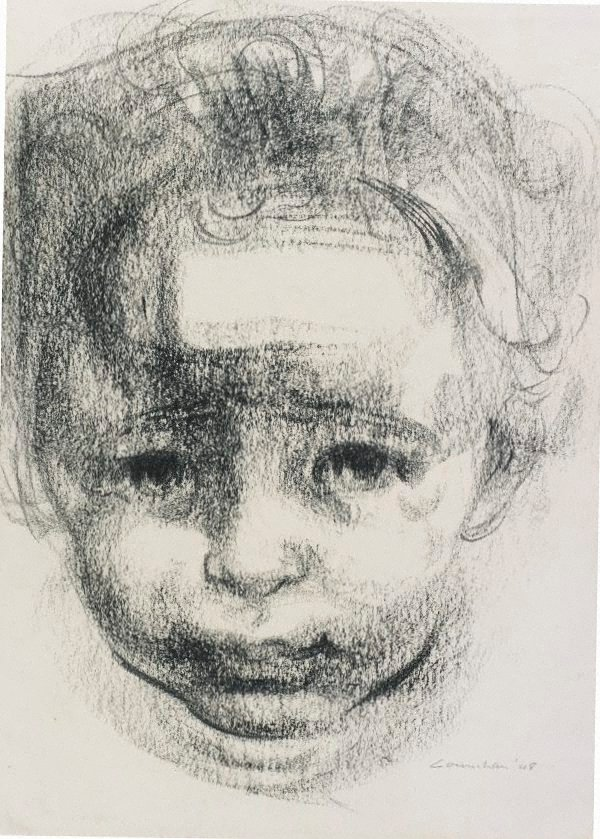 An image of Study for lithograph 'A child's head'