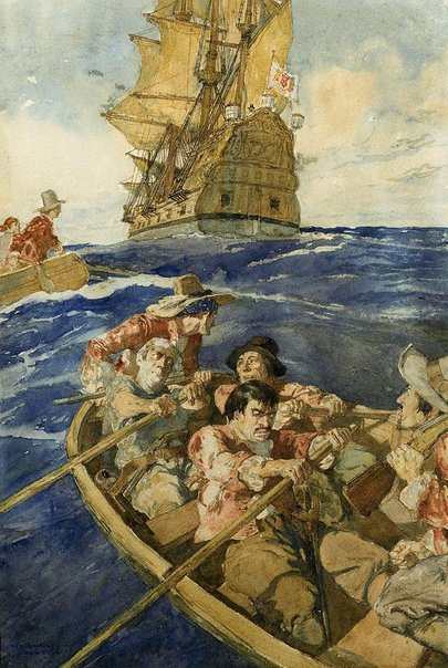 An image of Mutineers attacking Francois Pelsart's ship off the Western Australian coast A.D. 1628 by Norman Lindsay
