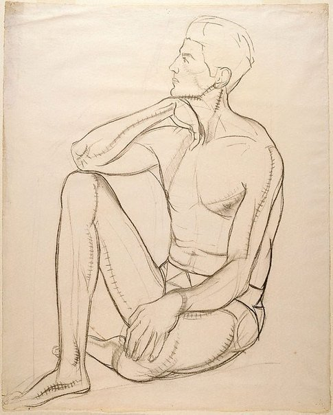 An image of (Figure study of a seated male nude) by Roy de Maistre