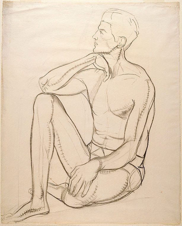 An image of (Figure study of a seated male nude)