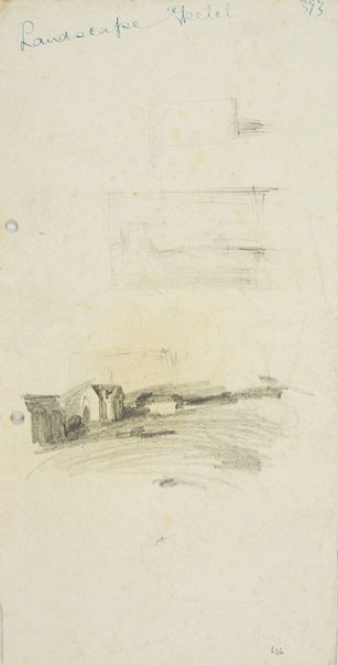 An image of Composition sketch and Landscape with church by Lloyd Rees
