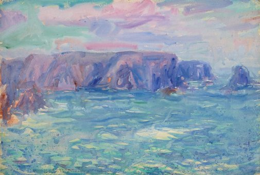 An image of recto: Belle-Ile verso: (Landscape study) by John Russell