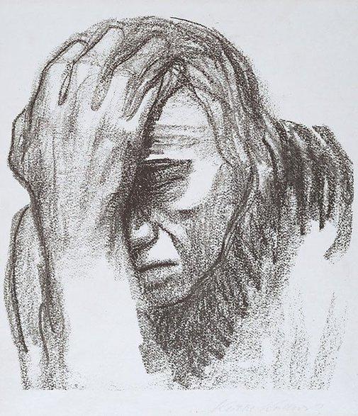 An image of Woman thinking by Käthe Kollwitz