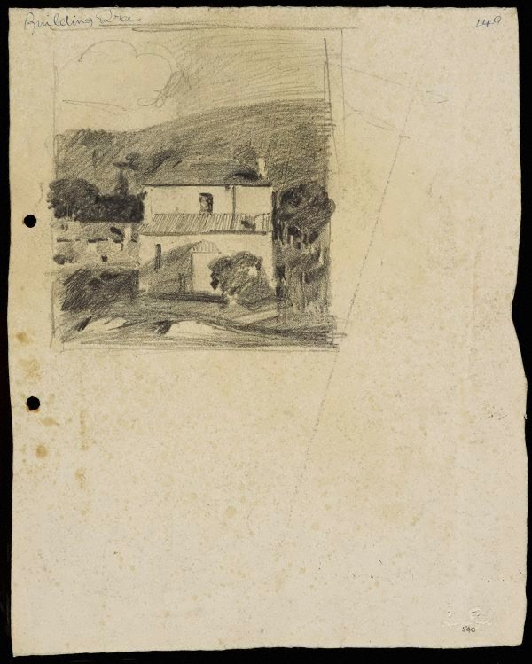 An image of recto: Two storey home with hill behind verso: The two storey home with other houses [top] and A large house [centre] and Composition sketch [bottom]