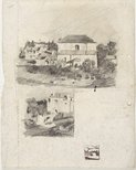 Alternate image of recto: Two storey home with hill behind verso: The two storey home with other houses [top] and A large house [centre] and Composition sketch [bottom] by Lloyd Rees