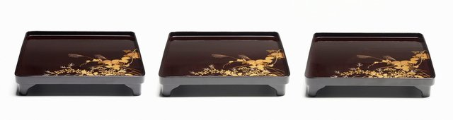 An image of Set of three footed lacquer tray with décor of autumn grasses and flowers