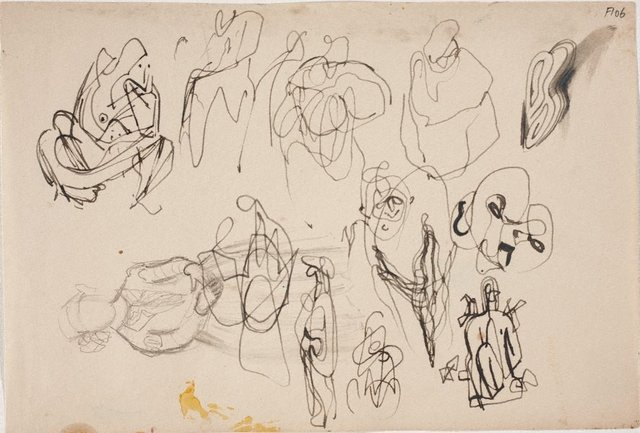An image of (Figure study of young girl and abstract figure studies) (Late Sydney Period)