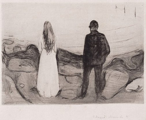 An image of Two beings (The lonely ones) by Edvard Munch