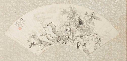An image of Fan - Landscape, rocks and bamboos by Jianlong Gu
