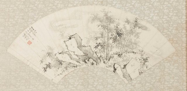 An image of Fan - Landscape, rocks and bamboos