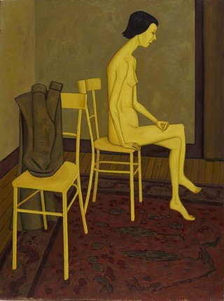 AGNSW collection John Brack Nude with two chairs (1957) 9424