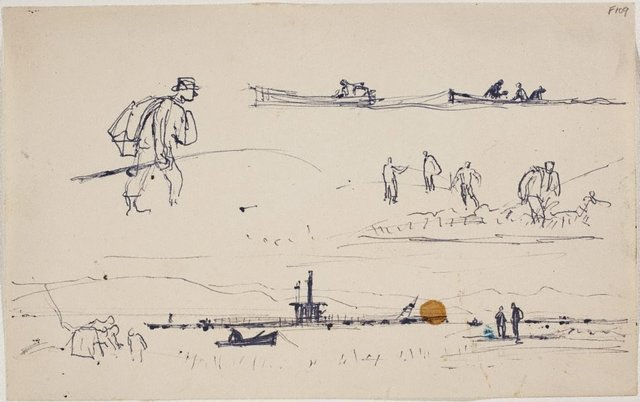 An image of (Man with sack and fishing rod, boats and figures) (Late Sydney Period)