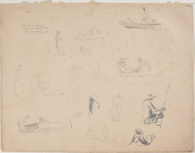 An image of (Studies of figures with rods and boats) (Late Sydney Period)