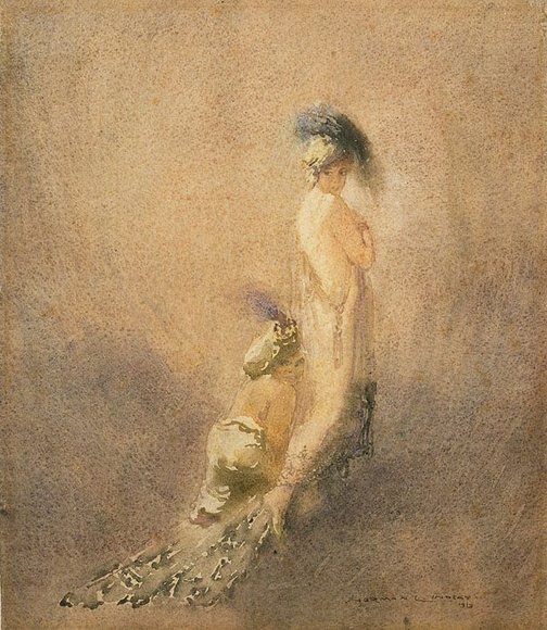 An image of Harem girl and dwarf by Norman Lindsay