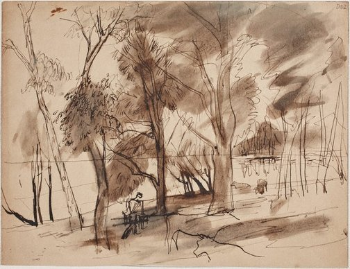 An image of Wangi-trees and cows by William Dobell