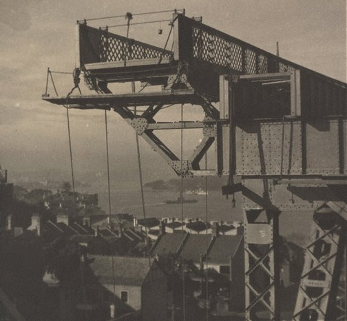 An image of Untitled (The Sydney Harbour Bridge in construction: girder on Milson's Point side) by Henri Mallard