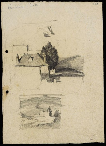 An image of recto: House and tree [top] and Building in landscape [bottom] verso: House on hill by Lloyd Rees