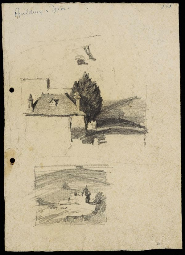 An image of recto: House and tree [top] and Building in landscape [bottom] verso: House on hill