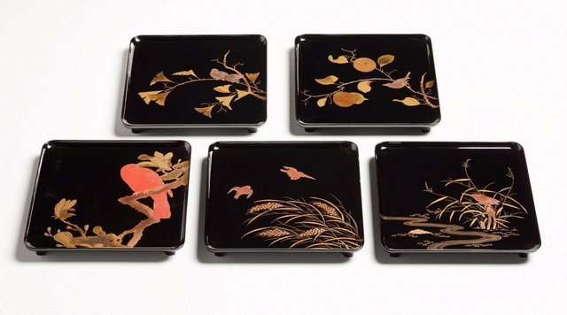 An image of Set of five footed lacquer trays with décor of birds and flowers