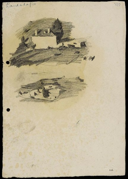 An image of recto: House in the landscape [top] and Sandy landscape [bottom] verso: Bellevue Hill landscape by Lloyd Rees