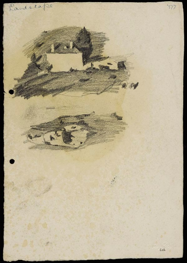 An image of recto: House in the landscape [top] and Sandy landscape [bottom] verso: Bellevue Hill landscape