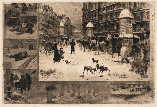 An image of L'hiver à Paris by Félix Buhot