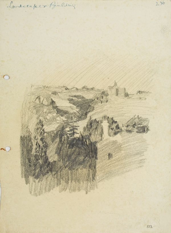 An image of recto: Landscape with building verso: Building on a hill