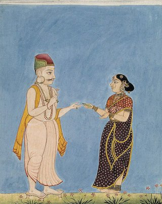AGNSW collection Company school A Brahmin and his wife circa 1770