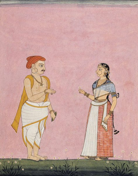 An image of An itinerant entertainer and his wife by Company school