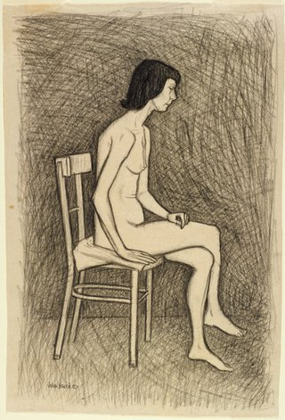 AGNSW collection John Brack Study for 'Nude with two chairs' no 2 1957
