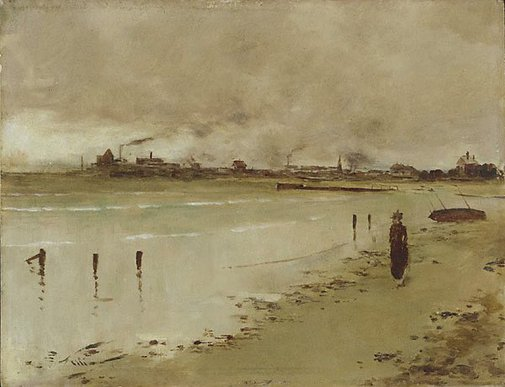 An image of Beach scene, Hobson's Bay by Girolamo Nerli