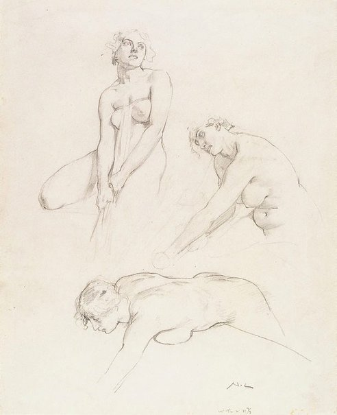 An image of Three female nude studies by Norman Lindsay