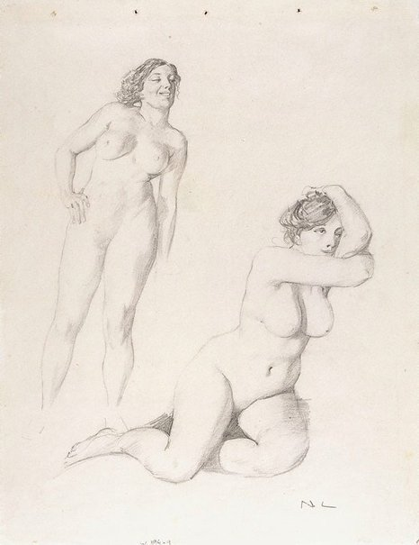 An image of Sheet of two female nude studies by Norman Lindsay
