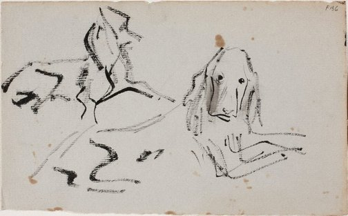 An image of (Study of two dogs) (Late Sydney Period) by William Dobell