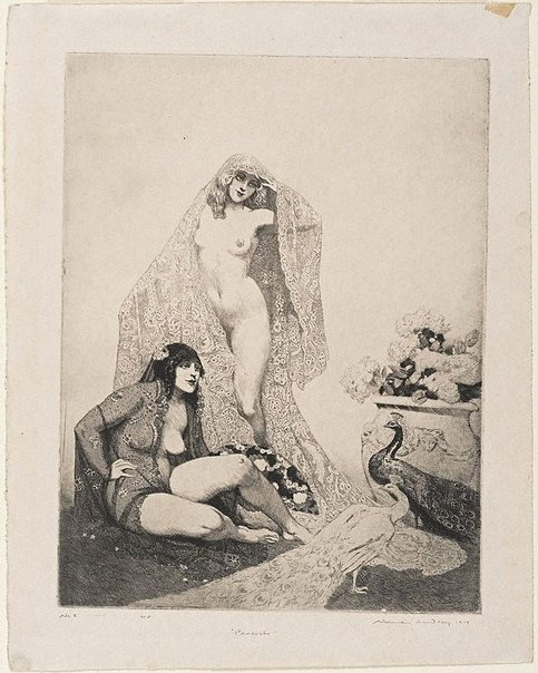 An image of Peacocks by Norman Lindsay