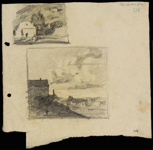 An image of House with a tree [top] and Landscape with cloudy sky [bottom] by Lloyd Rees