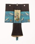 Alternate image of Kimono for first presentation of baby at Shinto shrine (Miyamairi kimono) with design of cranes over waves and auspicious instruments by