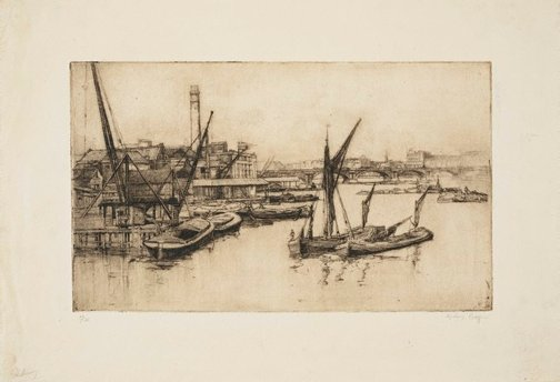 An image of The river from Blackfriars Bridge by Sydney Long