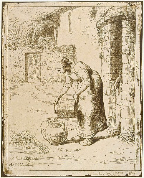 An image of Woman emptying a bucket by Jean-François Millet