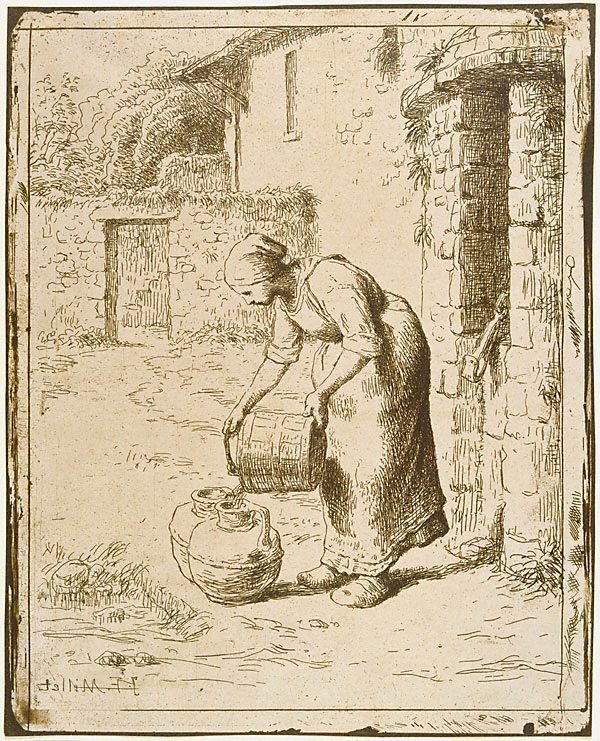 An image of Woman emptying a bucket