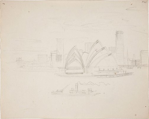 An image of (Opera House with city skyline) (Late Sydney Period) by William Dobell