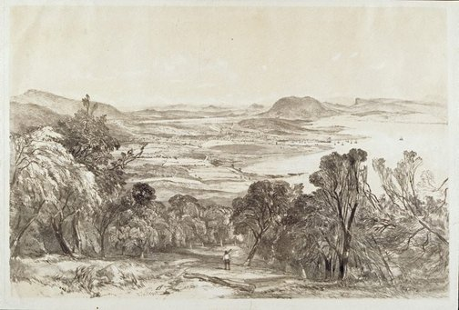 An image of Hobart Town from Mount Nelson by John Skinner Prout