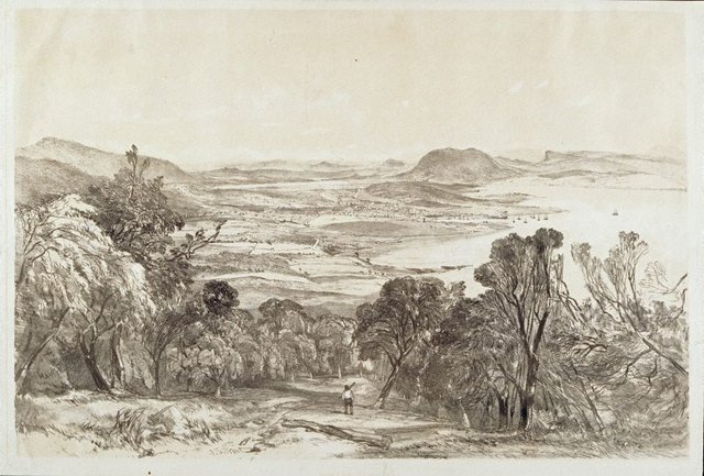 An image of Hobart Town from Mount Nelson