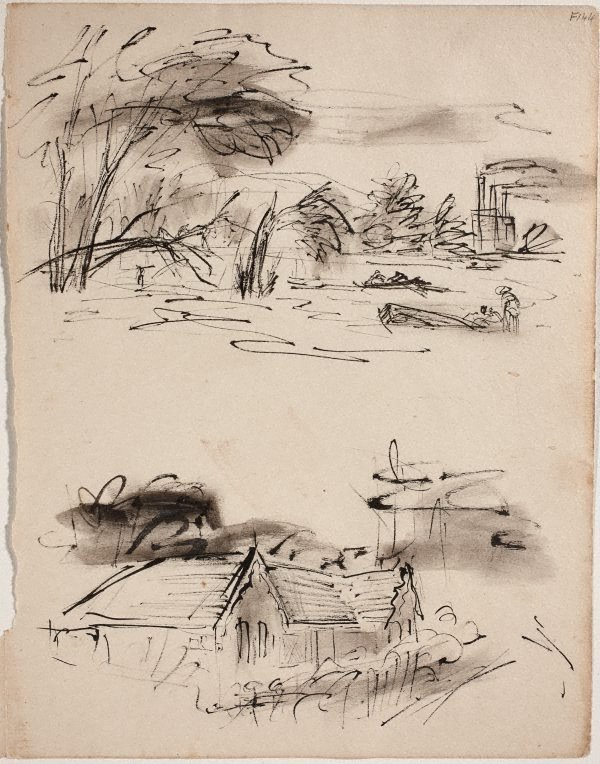 An image of (Study of shoreline and study of house) (Late Sydney Period)