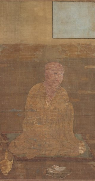 An image of Figure of a sitting monk by Unknown, Unknown