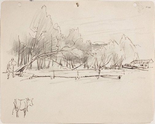 An image of (Study of shoreline with figure and cow) (Late Sydney Period) by William Dobell