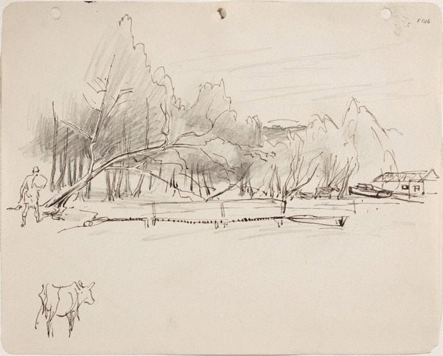 An image of (Study of shoreline with figure and cow) (Late Sydney Period)